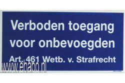 Verboden toegang Art.461