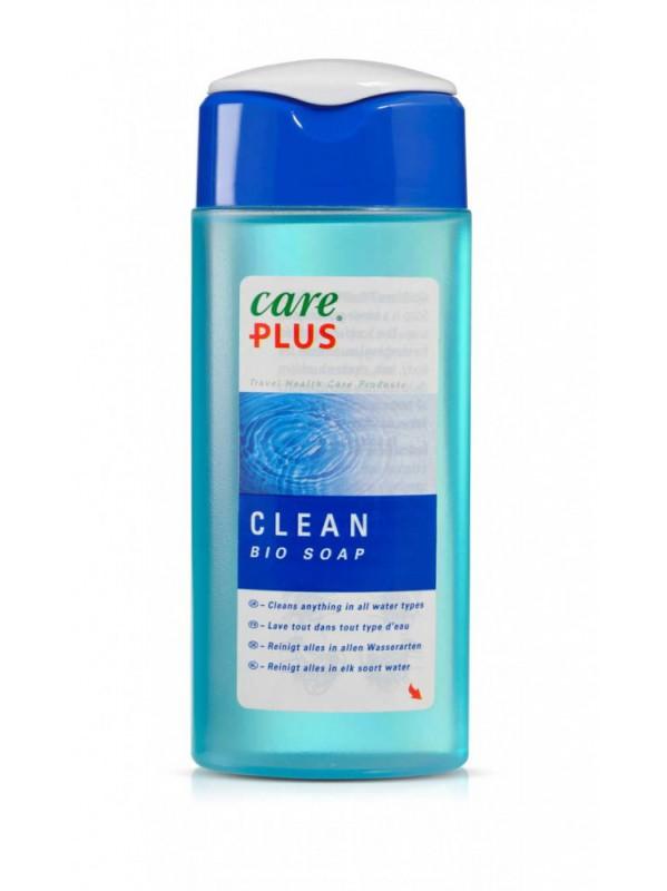 verpakking met blauwe vloeistof van care Plus