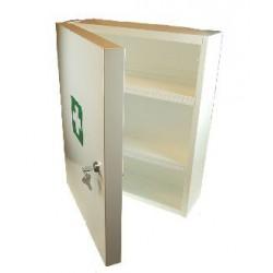 witte open verbandkast met twee plankjes en groen wit eerste hulp kruis.