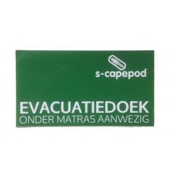 Stickers evacuatiedoek onder matras aanwezig