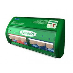 groene pleisterautomaat van Salvequick met doorzichtige deksel