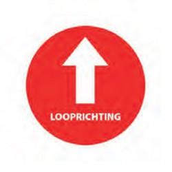 Vloersticker pijl + tekst looprichting rood/wit Ø200mm