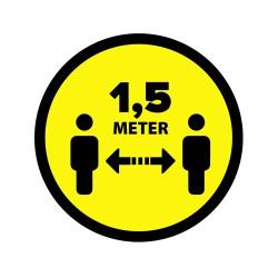 Vloersticker 1,5 meter afstand geel/zwart Ø300mm