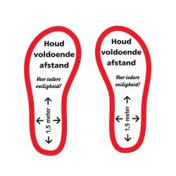 Vloersticker voeten Houd voldoende afstand per paar