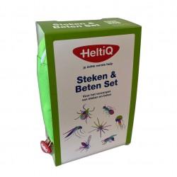 groen tasje met afbeelding van insecten en tekst steken en betenset.