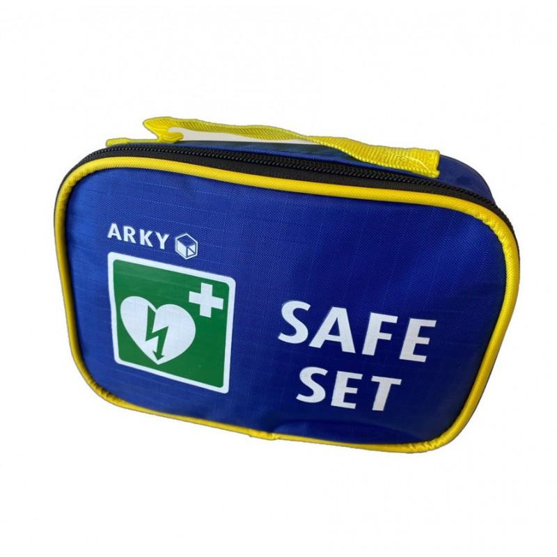 Blauw tasje met tekst safeset en het logo van de AED