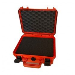 Grote oranje waterdichte koffer met zwart foam