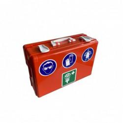 dichte oranje verbandkoffer met symbolen van persoonlijke bescherming