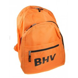 Oranje rugtas met de tekst BHV in zwarte letters