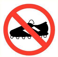Pictogram voetbalschoenen verboden