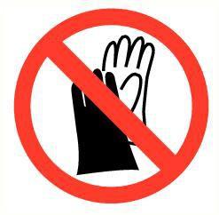 Pictogram handschoenen verboden