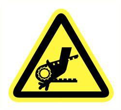 Sticker gevaar draaiende delen 90mm